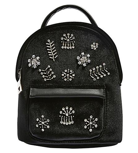 TOPSHOP Bling mini velvet backpack (Black