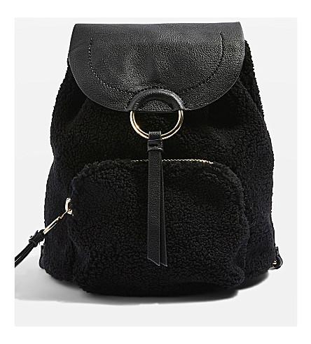 TOPSHOP Borg faux-shearling backpack (Black