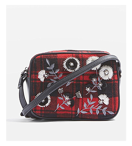 TOPSHOP Gingham wool-blend cross-body bag (Red