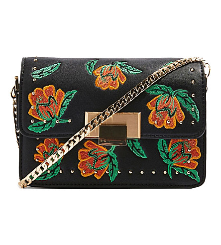 TOPSHOP Ria studded embroidered cross-body bag (Black