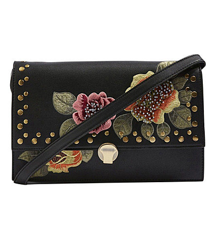TOPSHOP Robyn floral-embroidered cross-body bag (Black