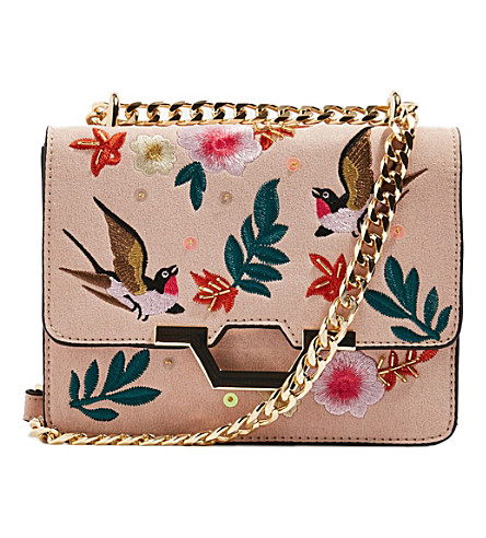 TOPSHOP Kylie embroidered cross body bag (Nude