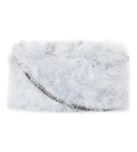 TOPSHOP Faye Marabou feathers cross-body bag (Grey