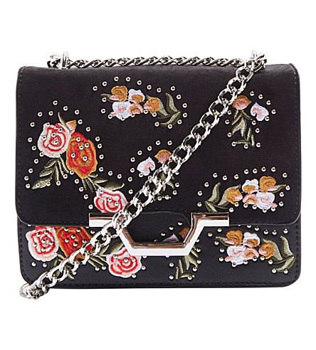 TOPSHOP Rosina floral-embroidered cross-body bag (Black