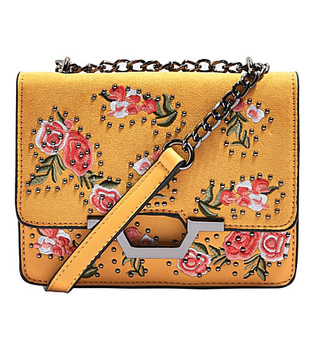 TOPSHOP Floral-embroidered cross-body bag (Mustard