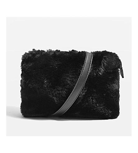 TOPSHOP Rupert faux-fur shoulder bag (Black