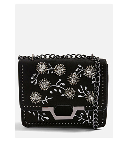 TOPSHOP Riley beaded cross-body bag (Black