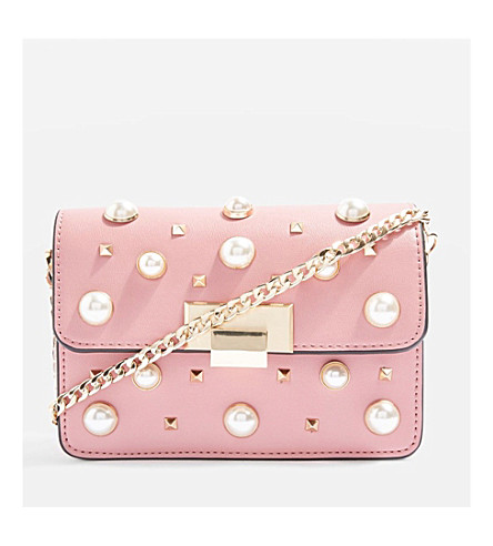TOPSHOP Ruby faux-pearl studded cross-body bag (Pink