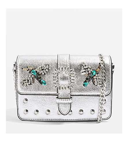 TOPSHOP Rosie Bug Jewel Cross Body Bag (Silver