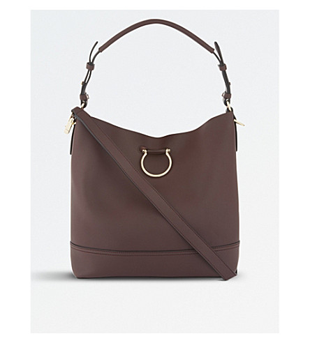TOPSHOP Remy leather shoulder bag (Burgundy
