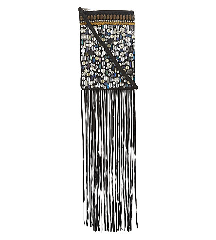 TOPSHOP Holi Festival fringed leather cross-body bag (none