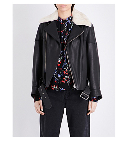 TOPSHOP Boutique Faux-fur collar leather aviator jacket (Buttermilk