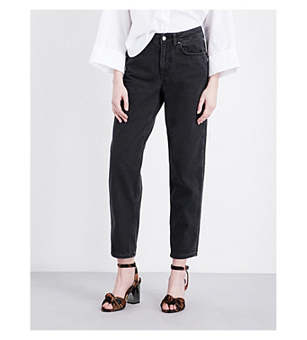 TOPSHOP Boutique Boyfriend straight high-rise jeans (Black