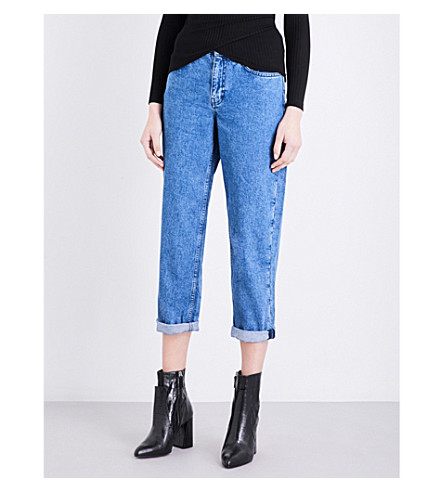TOPSHOP Boutique turn-up cuffs boyfriend-fit high-rise jeans (Blue