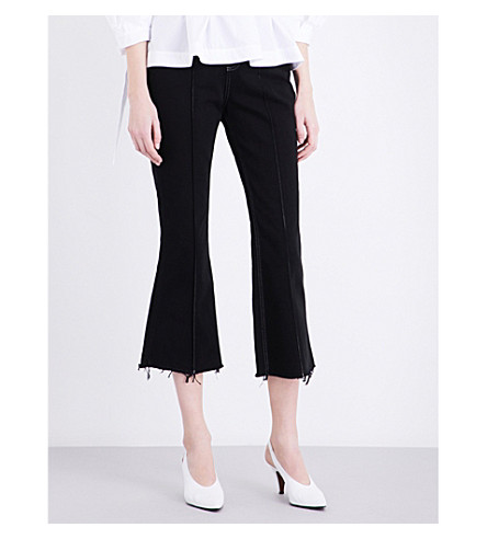 TOPSHOP Boutique Cropped flared high-rise jeans (Black
