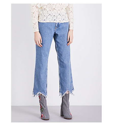 TOPSHOP Boutique frayed-hem straight-leg cropped jeans (Mid+stone