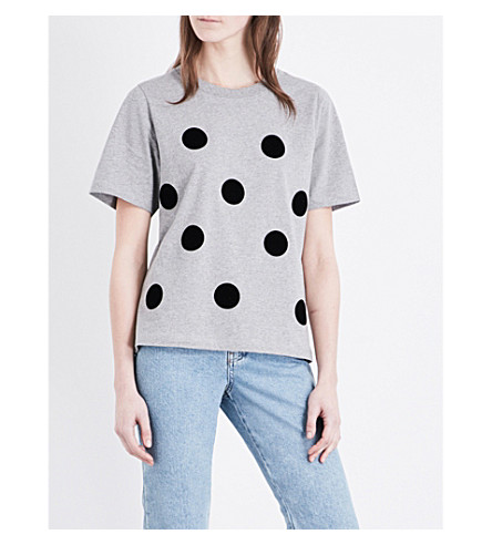 TOPSHOP Boutique Polka flocked cotton T-shirt (Grey+marl