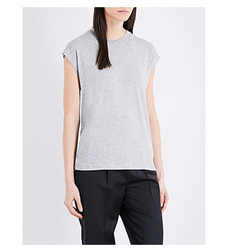 TOPSHOP Boutique Grown On jersey T-shirt (Grey+marl