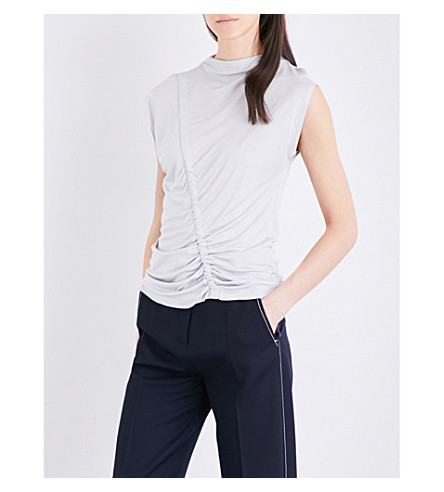 TOPSHOP Ruched satin top (Silver+grey