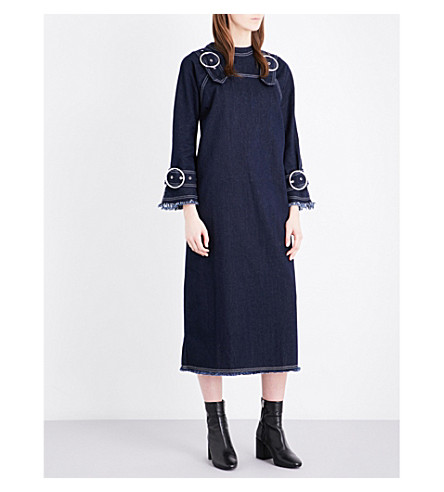 TOPSHOP Boutique buckle-detailed denim pini dress (Indigo+denim