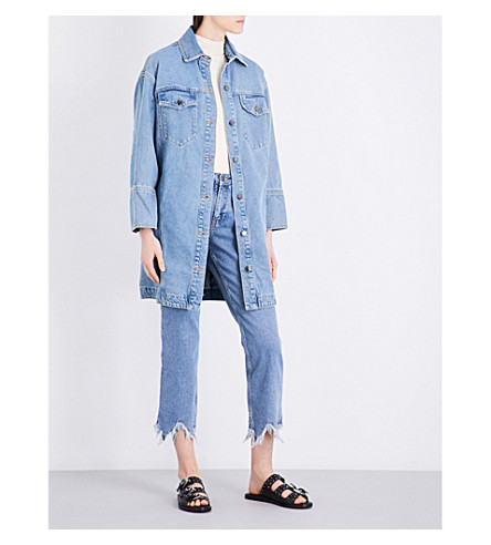 TOPSHOP Washed denim shirt dress (Mid+stone