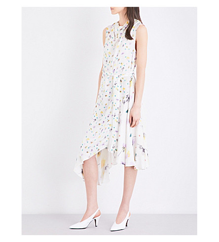 TOPSHOP Boutique floral-print satin-jacquard dress (Multi