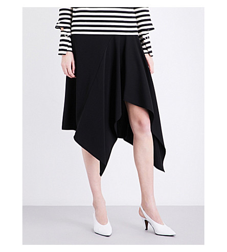 TOPSHOP Boutique asymmetric cotton skirt (Black