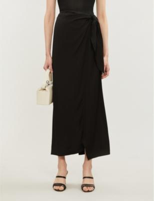 Boutique high-waist satin wrapover midi skirt