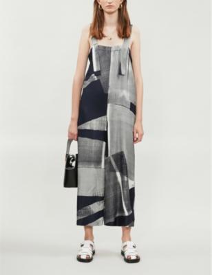 Batik-print oversized wide-leg silk-twill jumpsuit