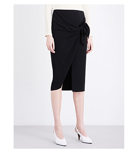 TOPSHOP Boutique tie-front crepe skirt (Black