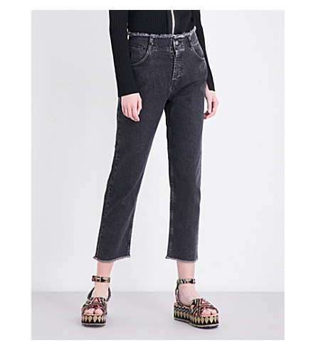 TOPSHOP Topshop Boutique frayed-hem tapered high-rise jeans (Washed+black