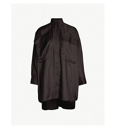 TOPSHOP Oversized silk shirt dress (Black