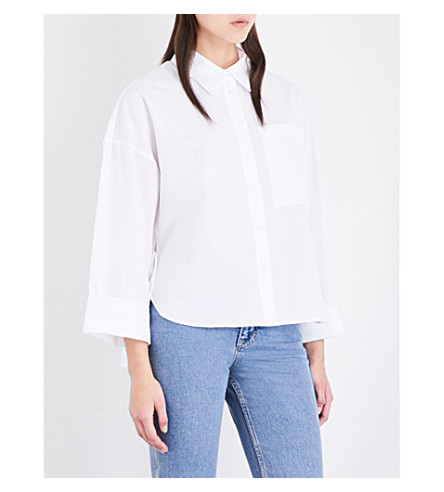 TOPSHOP Boutique Wide cotton-poplin shirt (White