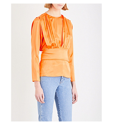 TOPSHOP Boutique 80's silk blouse (Jaffa+orange