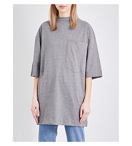 TOPSHOP Boutique Sloppy Boy cotton-jersey T-shirt (Grey+marl