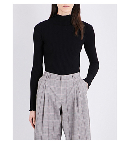 TOPSHOP Funnel-neck knitted top (Black