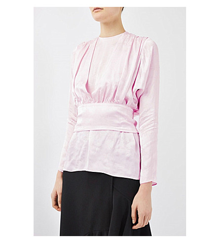 TOPSHOP Boutique 80s showstopper blouse (Pale+pink