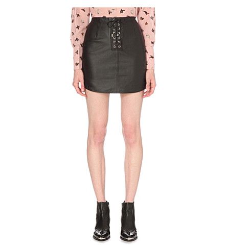 topshop unique unique swinton leather mini skirt