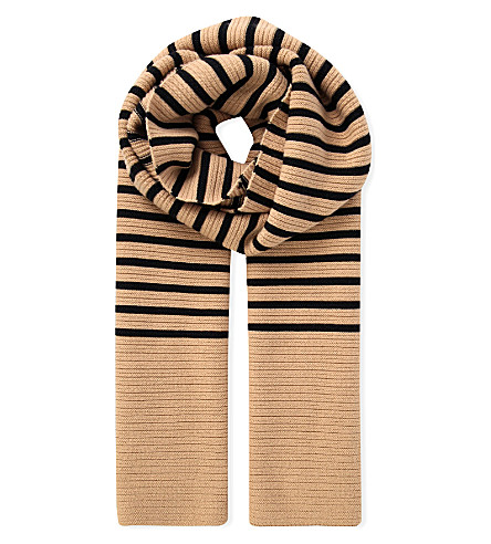 TOPSHOP Unique Broadwick knitted scarf (Camel/black+stripe
