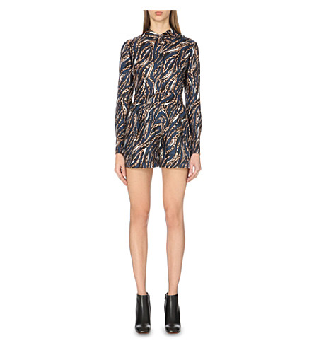 TOPSHOP Christos silk shirt (Navy