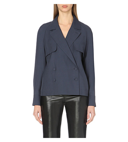 TOPSHOP Coterill woven blouse (Navy