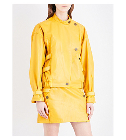 TOPSHOP Unique Raleigh leather jacket (Mustard