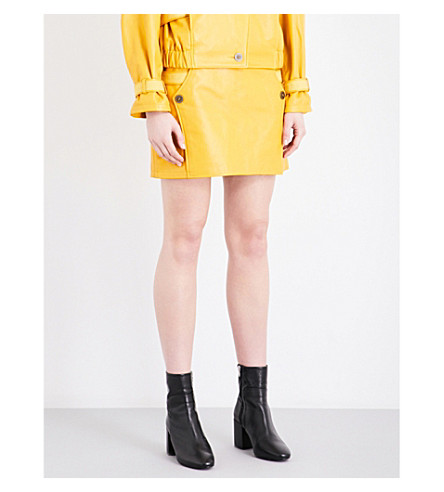 TOPSHOP Unique Raleigh leather mini skirt (Mustard