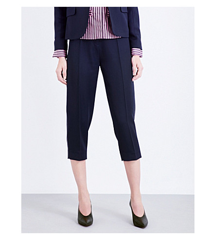 TOPSHOP Unique Cropped wool trousers (Navy