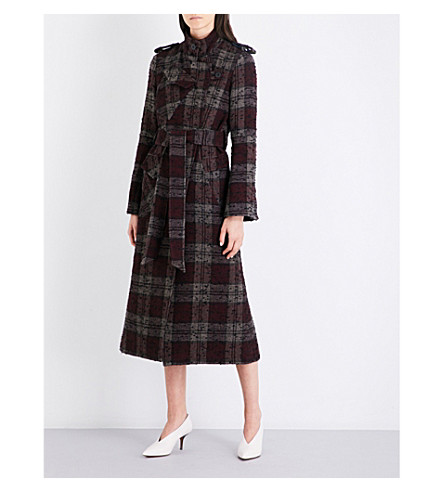 TOPSHOP Unique Heaton wool-blend trench coat (Burgundy