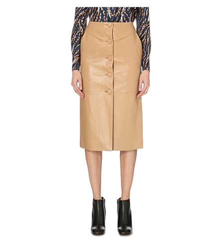 TOPSHOP Unique Romilly leather skirt (Camel