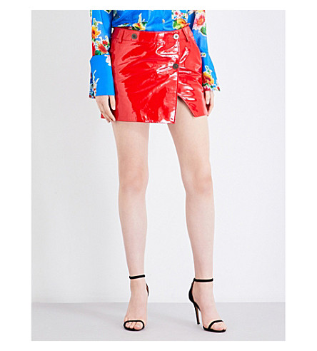 TOPSHOP Unique heaton leather mini skirt (Red