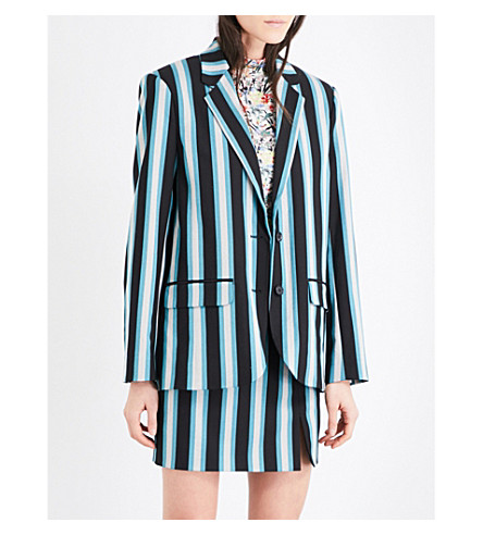 TOPSHOP Unique striped twill blazer (Black