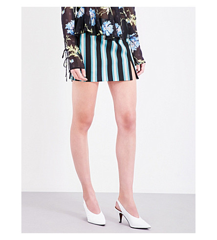 TOPSHOP Unique stripe-print twill skirt (Black