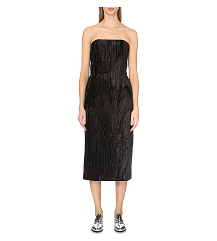 TOPSHOP Unique Mayall velvet midi dress (Black